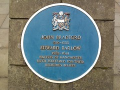 Photo of John Bradford and Edward Barlow blue plaque