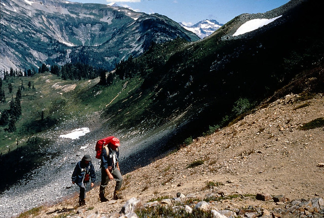 Hikers in mountains, circa 1995 from Flickr via Wylio