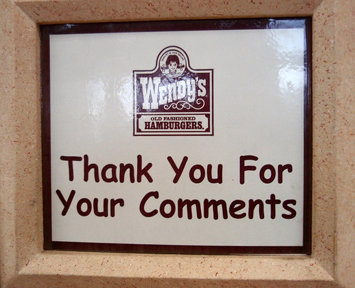 Wendy's Thanks You For Your Comments (in Comic Sans)