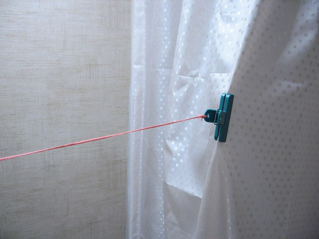 Simple Had A Shower Curtain And A Pull Across Material Privacy Curtain To