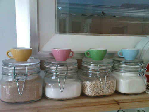 The cutest little cups from IKEA kitchen toys for kids being repurposed as handy scoops for condiments in my kilner jars