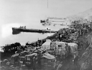 Military supplies piled up on Anzac Cove, Gallipoli, May 1915