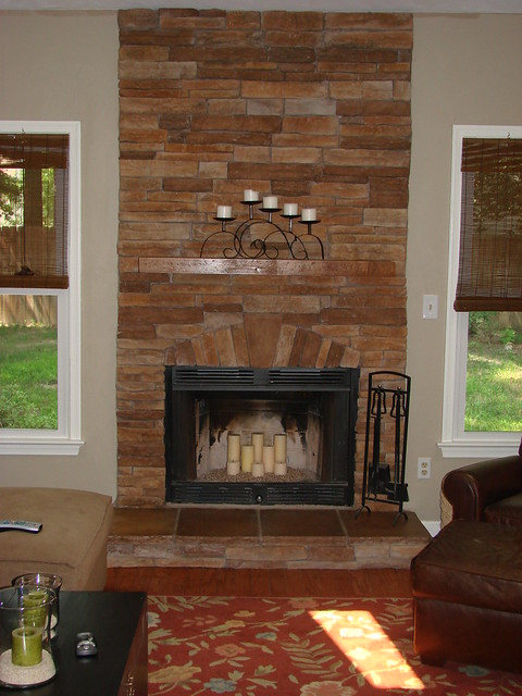 stacked stone fireplace casual cottage