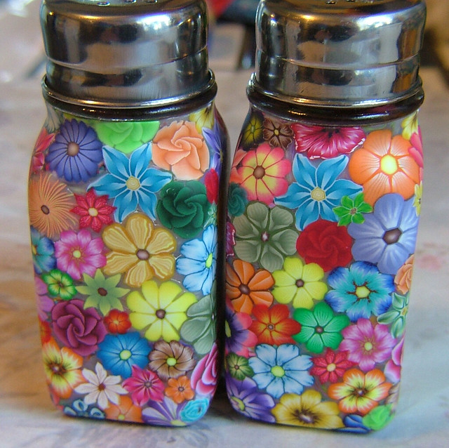 Colorful millefiori floral salt pepper shakers flickr Colorful salt and pepper shakers