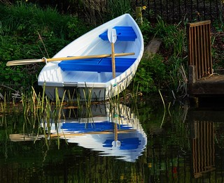 small blue & white boat