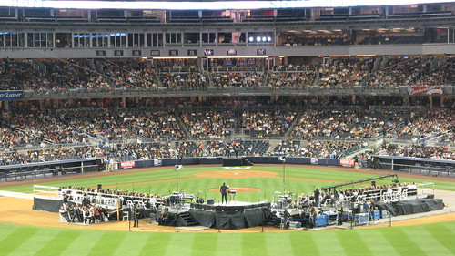 "Joel Osteen ""Night Of Hope"" at Yankee Stadium, 04/25/09: view from centerfield as Osteen preaches"