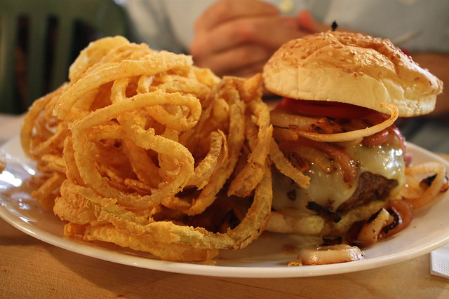 Burger with onion rings, Mr. Bartley's Gourmet Burger, Cambridge