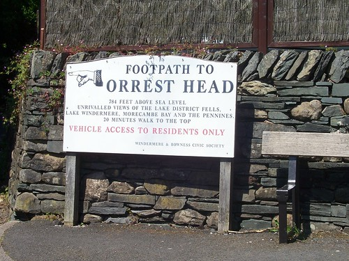 Windermere - sign to Orrest Head viewpoint