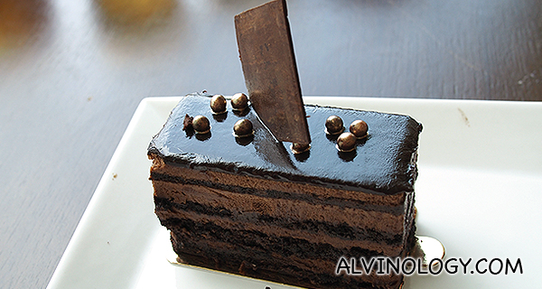 Chocolate cake that comes with the set menu