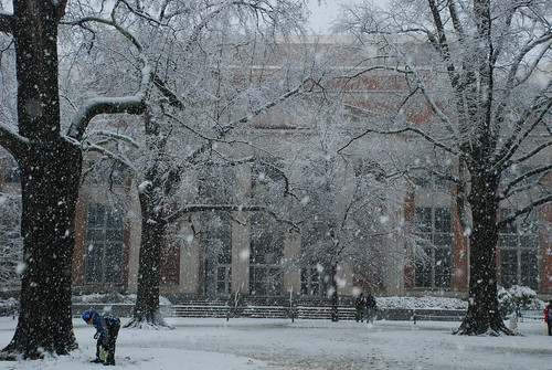 UGA Library with snow revelers
