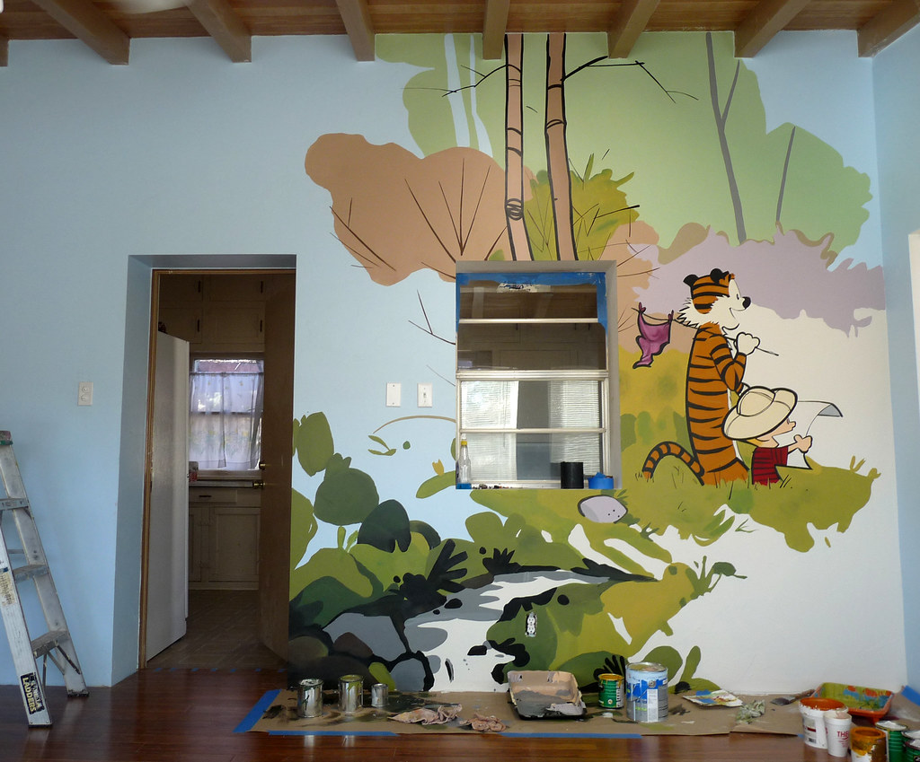 calvin hobbes playroom mural yes please pics