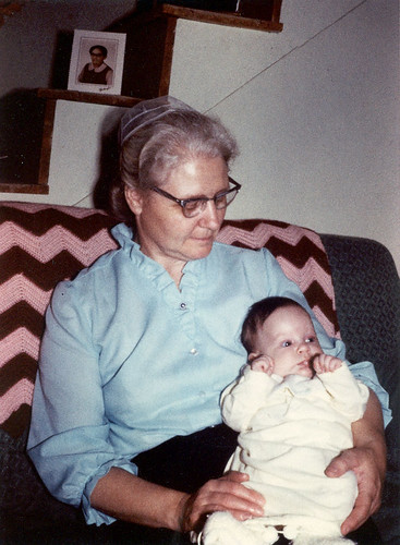 Mom and Judy. First grandchild for Dad & Mom. At aunt Mary and uncle Clayton's farm in Greenwood Del.