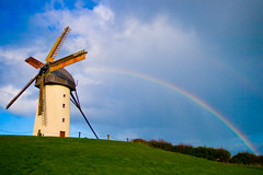 windmill, rainbow, mill, wind, wind turbine,