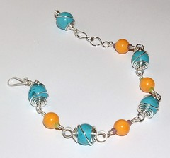 Turquose caged beads