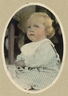 Vintage Portrait Photo Picture of an not so happy young little girl, making a face