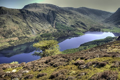 mountain, reservoir, water, valley, nature, mountain range, loch, lake, hill, body of water, highland, ridge, tarn, reflection, fell, landscape, wilderness, mountainous landforms,