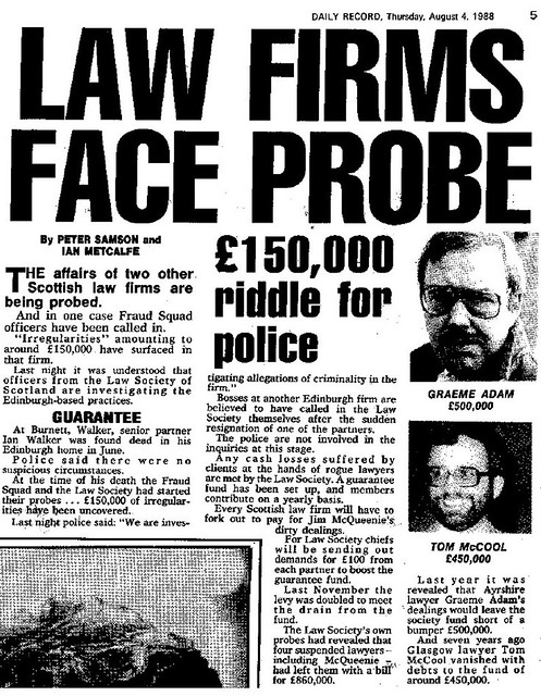 Law Firms Face Probe Daily Record August 4 1988