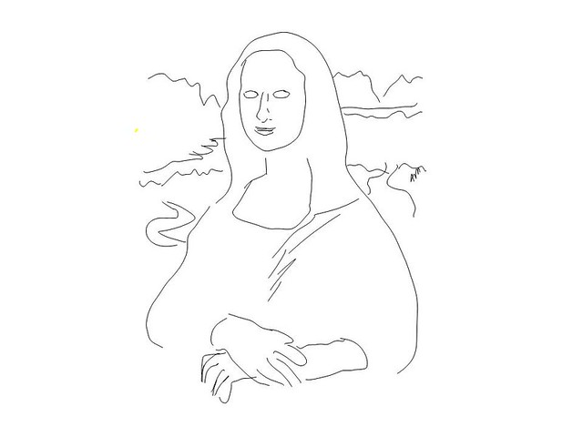Mona Lisa Outline Sketch Coloring Page