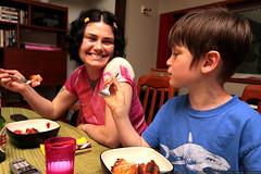 rachel and nick eating birthday cake