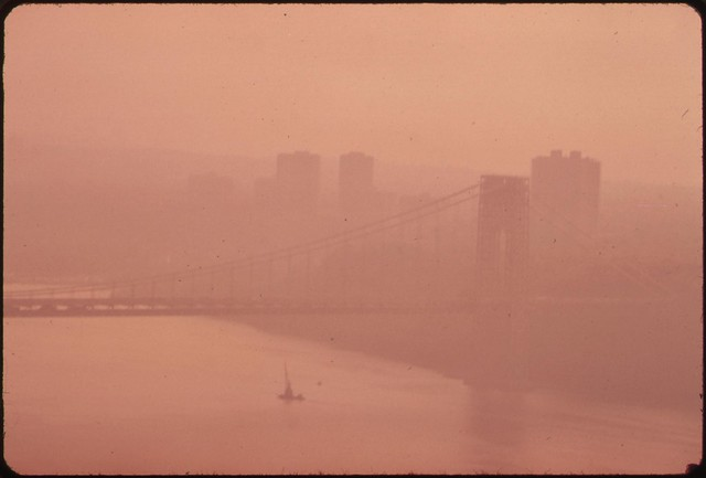 DOCUMERICA: The George Washington Bridge in Heavy Smog. View toward the New Jersey Side of the Hudson River. 05/1973 by Chester Higgins.