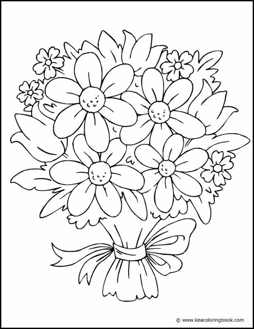 Bouquet Of Flowers Coloring Page This Pretty Coloring