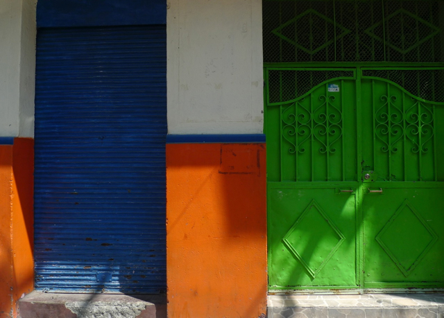 Best doors and gates orange green and blue