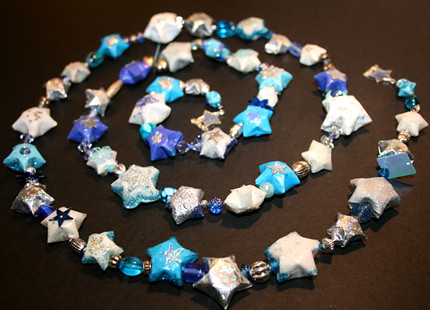 Silvery Blue Star Garland Paper Ornament 12 Photos 425