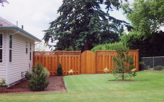 Shadow Box Fence with Lattice Top http://www.flickr.com/photos/superiorfence/3368811952/