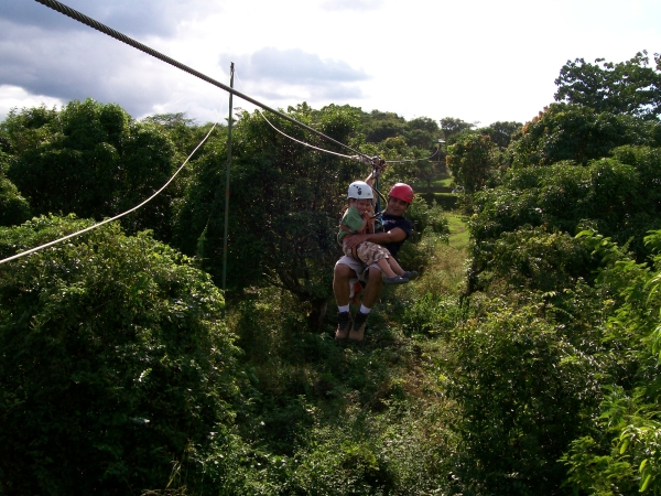 Zip line in the forest of Arenal, Costa Rica