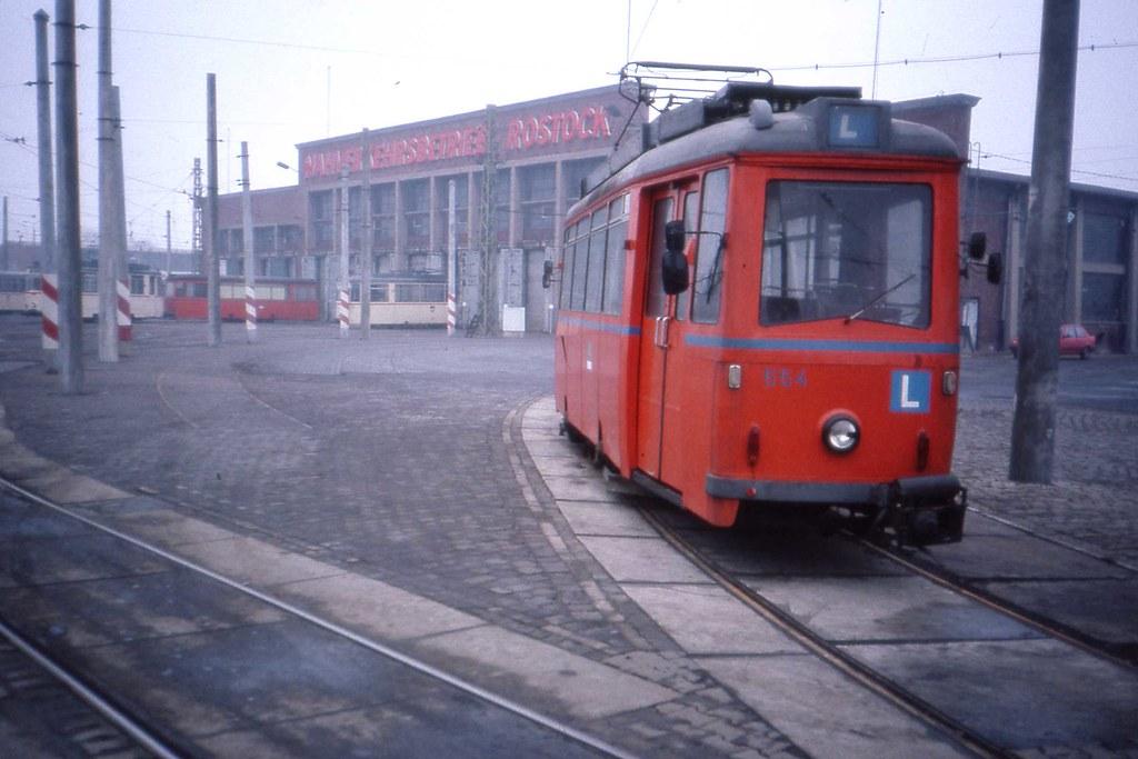Stra Enbahn Betriebshof Rostock Tram Depot Ddr Jan 1990