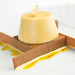 saffron-spiced pumpkin panna cotta with ginger cake and orange saffron syrup