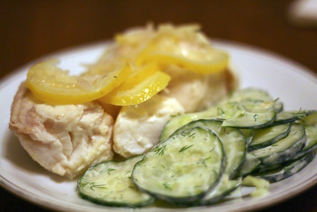 Poached halibut, creamy cucumbers | Flickr - Photo Sharing!