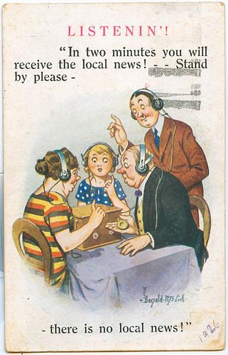 Postcard: Listenin' 1926