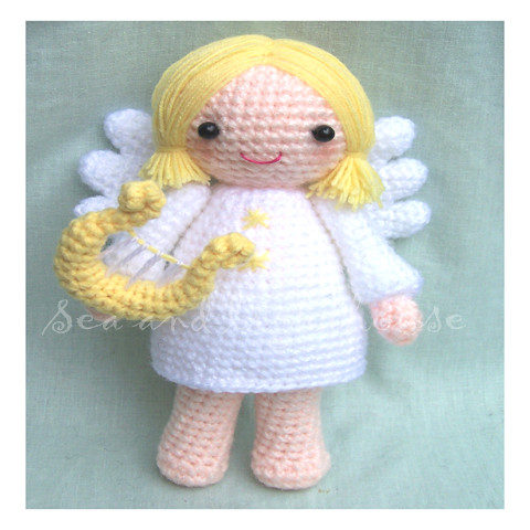 Crochet ANGELS with HARP Viola TRUMPET French Horn VIOLIN