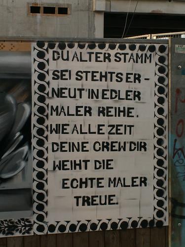 Du alter Stamm im Elbepark sei stehts erneut in edler Graffiti Maler Reihe wie alle Zeit deine Crew dir weiht die echte Maler Treue 041