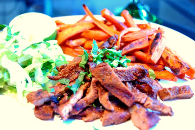 Grilled Carne Asada with Baked Sweet Potato Fries and Heck of a Jicama ...