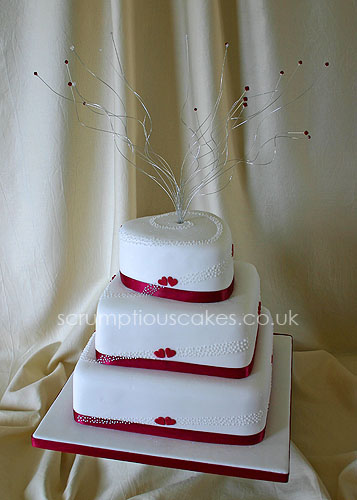 Wedding Cake (420) - 3 Tier Red Hearts & Piped Dots
