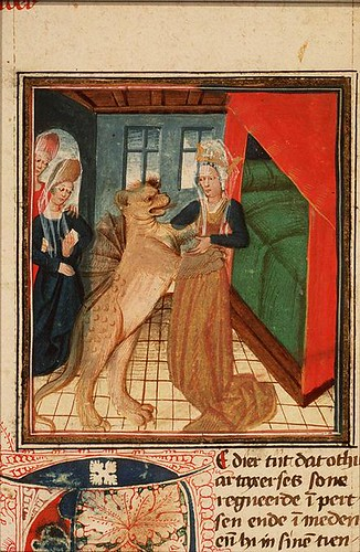 Olympias is seduced by Nectanebus in the form of a dragon