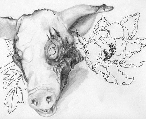 Bloody Pig Head with Peony