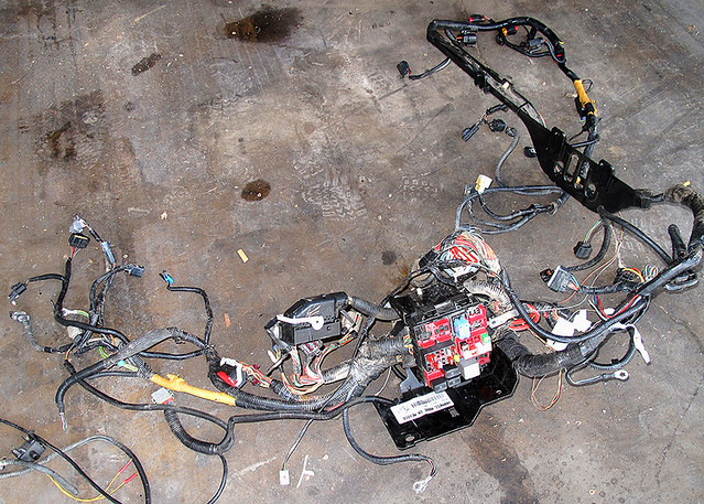 Complete Engine Compartment Wiring Harness In A 2005 Ford F350 Truck