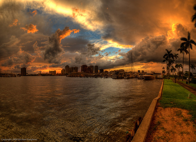 A break in the sky over the West Palm Beach, Florida intracoastal