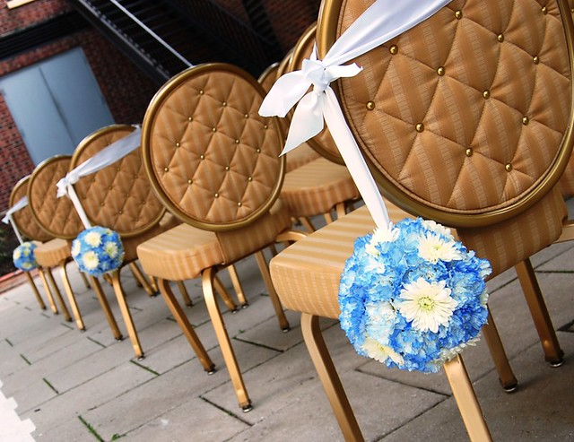 These pretty kissing balls decorated the chairs at this Nassau Inn wedding