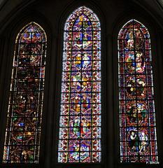 Triplet de vitraux du transept nord de la Cathédrale de Coutances - Manche - Basse Normandie