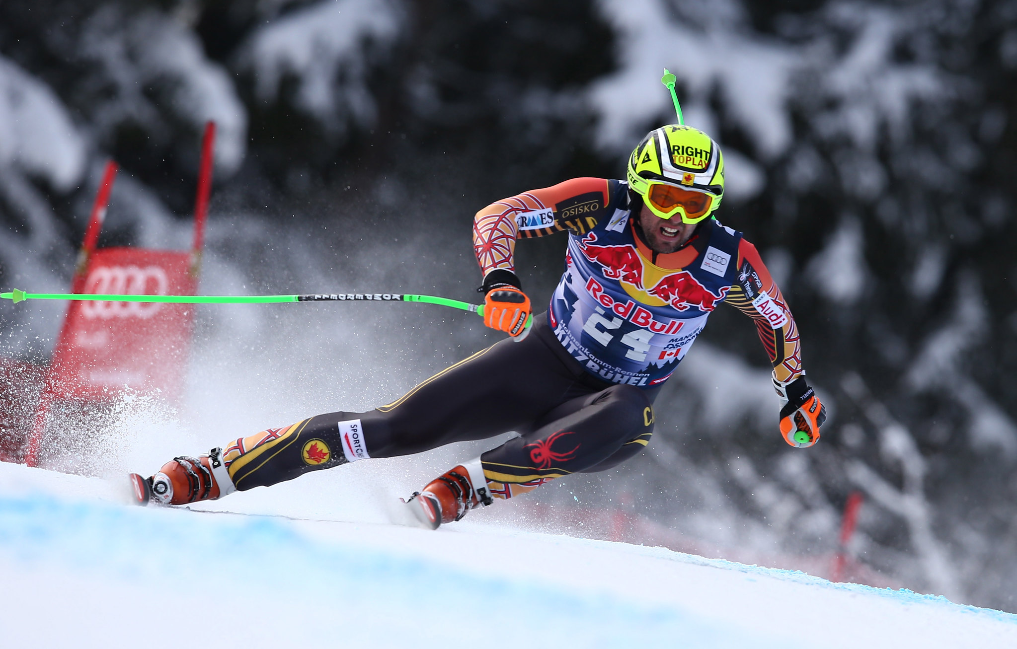 Manny speeds his way down the downhill track in Kitzbuehel, AUT
