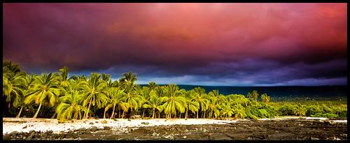 light sunset beach clouds palms hawaii bigisland kona 323 gnd keei