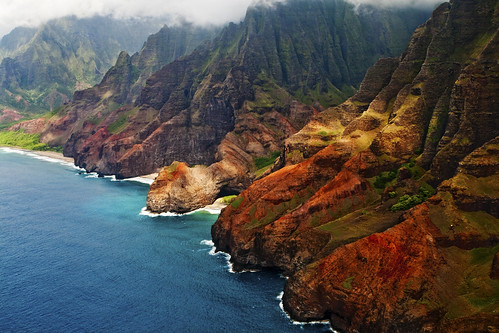 Helicopter View of Na Pali Coast in Kauai