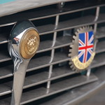 Old Jaguar E-type sports car: badges on radiator grille