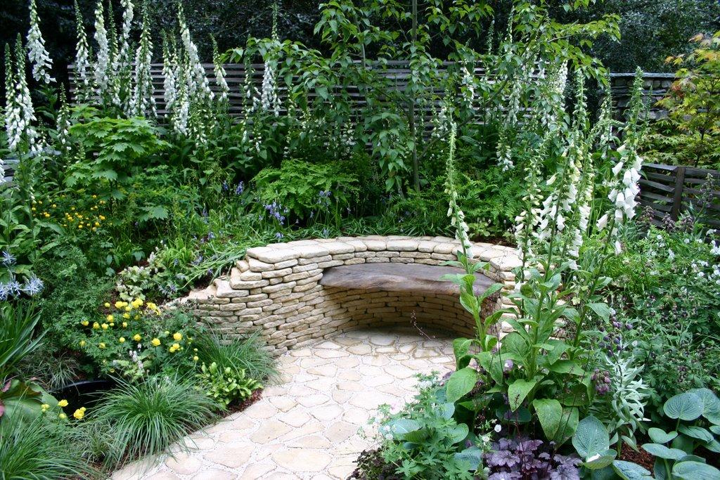 Stone bench in garden