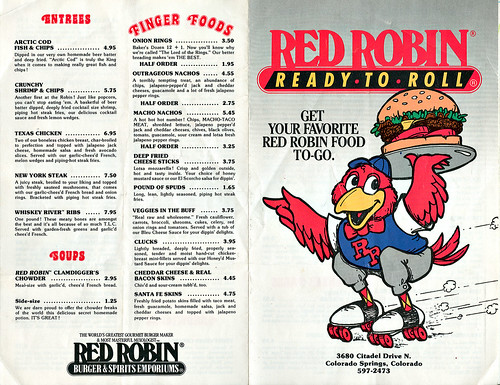 """Red Robin"" :: ' Ready - To - Roll ' Take - out menu A (( 1985 - 1986 ))"