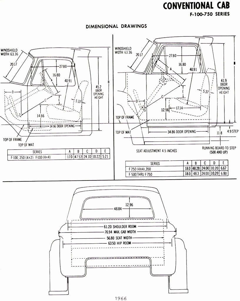 1966 ford f-100-750 truck conventional cab dimensions
